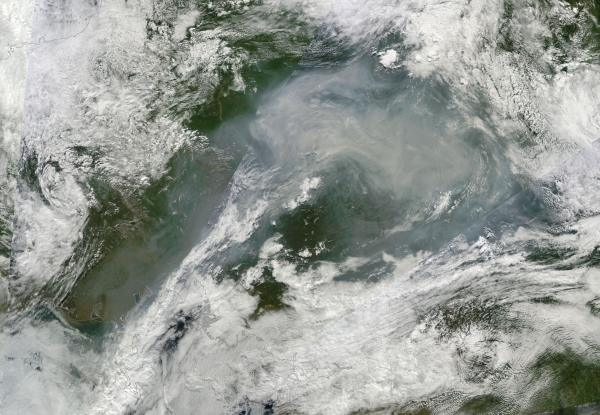 Smoke from Siberian Tundra Fires August 1, 2014